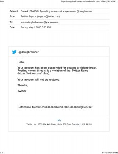 Banned by twitter