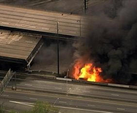 I-85 bridge collapse in Atlanta, Georgia.