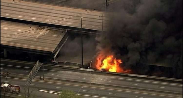 I-85 bridge collapse in Atlanta, Georgia.