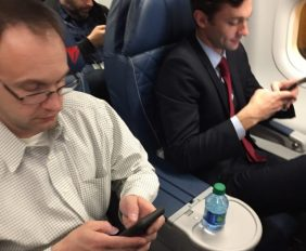 Jon Ossoff flies the friendly skies - 1st class!